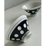 画像: ごはん茶碗  ドット/ルリ水玉  磁器  2客セット